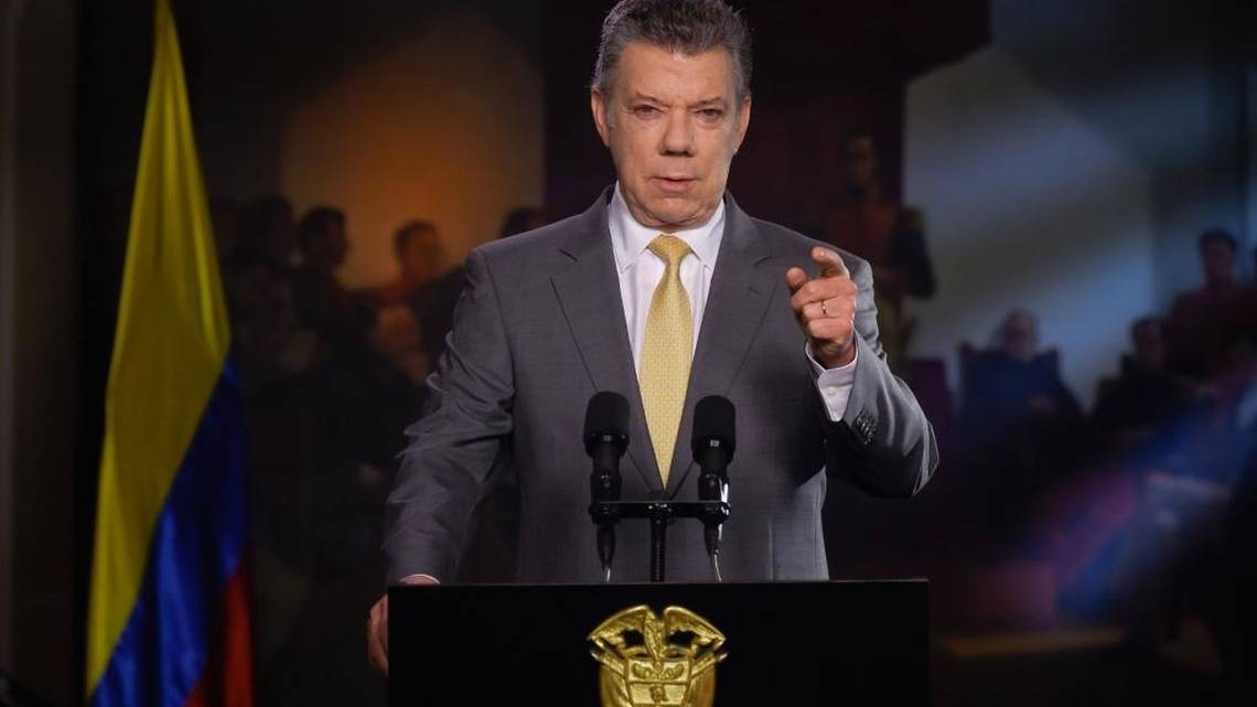 El presidente Juan Manuel Santos durante una alocución presidencial el 14 de noviembre del 2017.