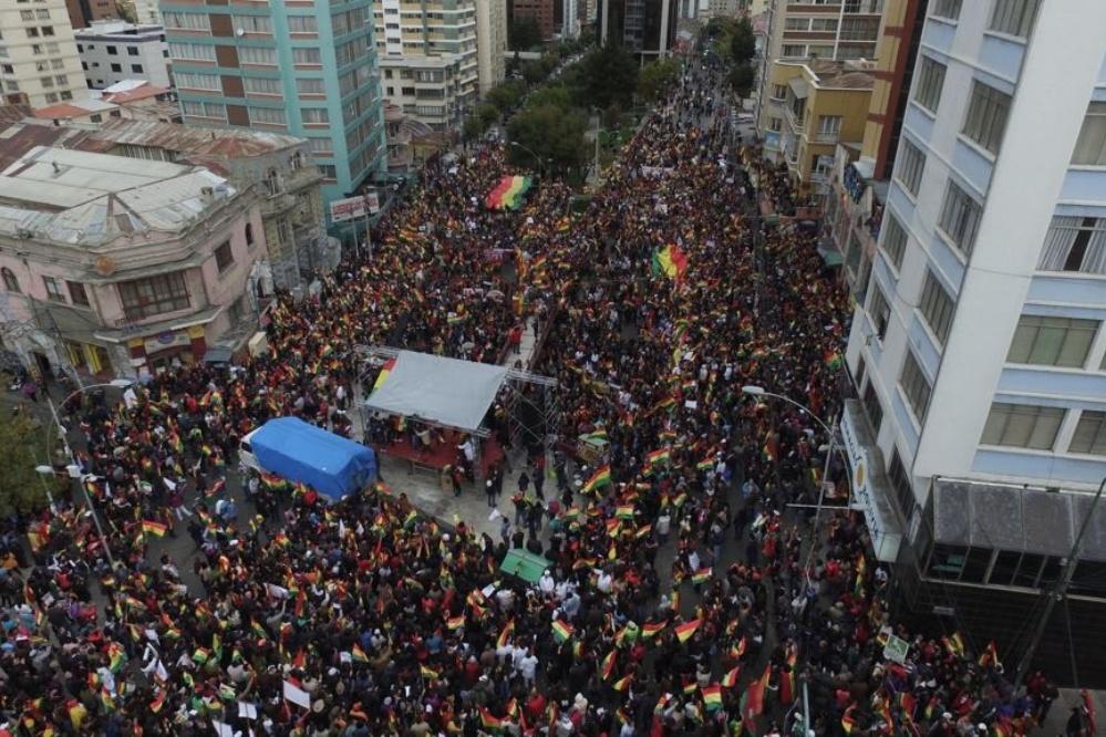 Multitudinaria concentración en La Paz en contra de la reelección