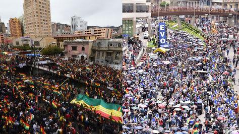 Las movilizaciones a favor y en contra de la respostulación del presidente Evo Morales. Foto: La Razón
