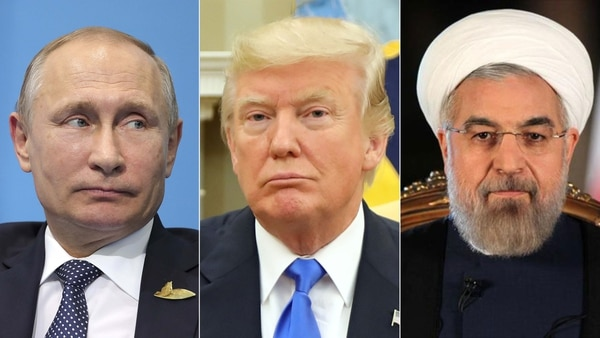 Vladimir Putin, Donald Trump y Hasan Rohani, presidente de Irán