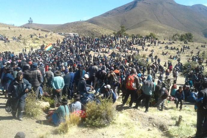 Los campesinos movilizados en la zona de los Cintis. Foto: Gentileza