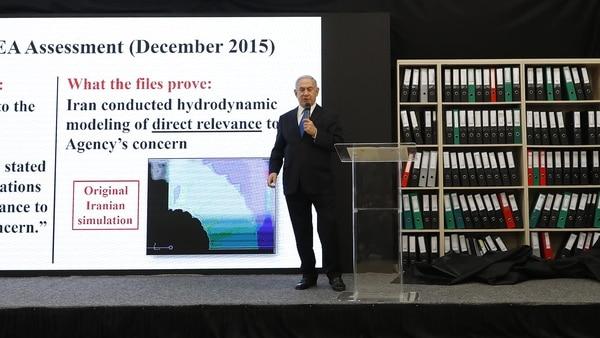 El premier israelí denunció el plan secreto de Irán para producir armas atómicas (AFP)