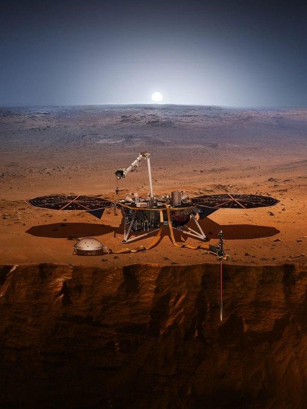 Ilustración del aterrizaje de InSight en Marte (NASA/JPL-Cal Tech)