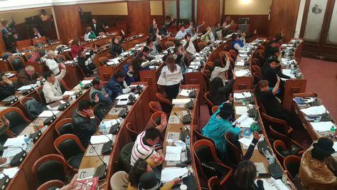 Diputados durante la aprobación en grande y detalle del Proyecto de Ley que Modifica la Ley de Migración. Foto: @Diputados_Bol