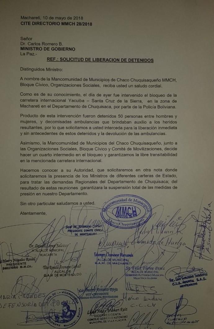 La carta de solicitud de liberación de los detenidos. Foto: Gentileza