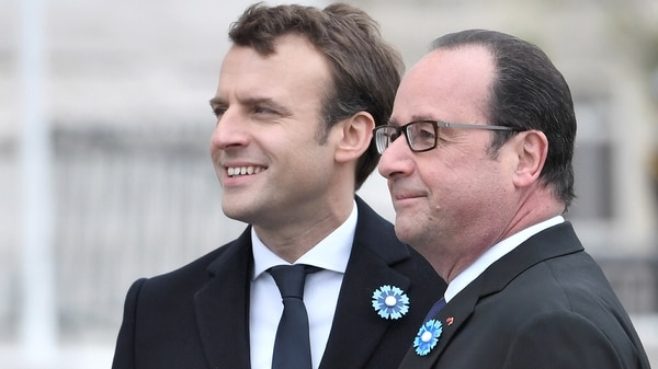 Macron junto a su predecesor, Hollande