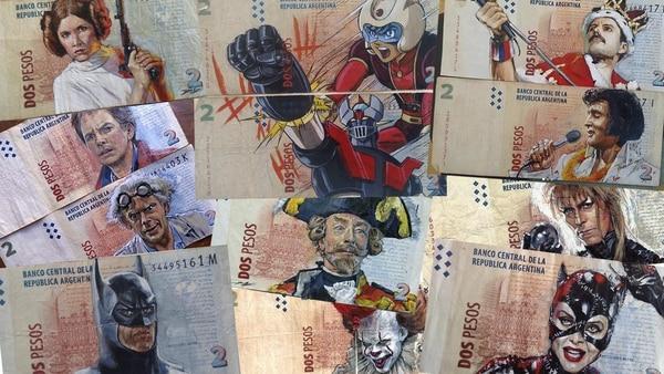 """""""Art money"""", la disciplina con la que Sergio Díaz busca salvar algunos billetes de dos pesos"""
