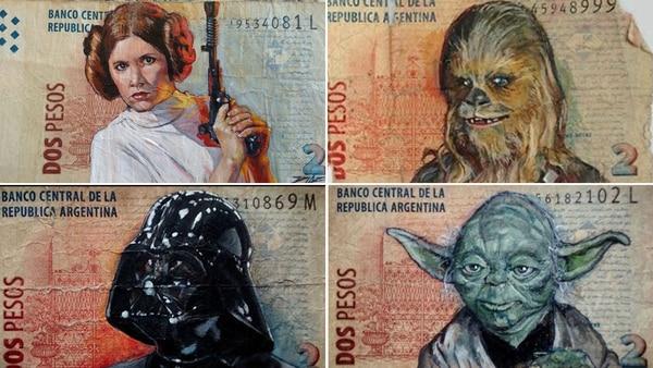 Algunos billetes de la serie Star Wars
