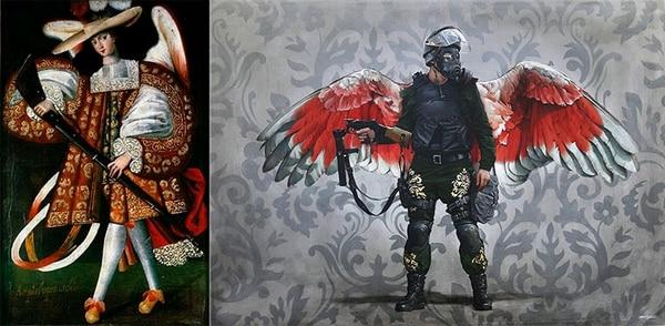A la izquierda un cuadro de un ángel arcabucero, a su lado la reinterpretación de Díaz