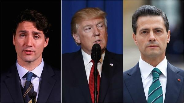 El primer ministro de Canadá Justin Trudeau, el presidente de EEUU Donald Trump y el mexicano Enrique Peña Nieto