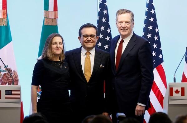 Chrystia Freeland, Ildefonso Guajardo y Robert Lighthizer (Reuters)