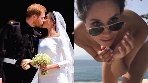 Harry y Meghan Markle, felices. A la derecha, la actriz de 36 años intentando tomarse una fotografía en topless