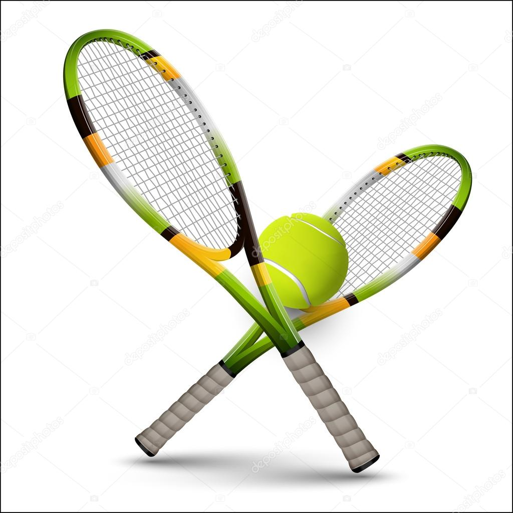 Símbolos de tenis Raquetas y pelota aislada sobre fondo blanco — Archivo Imágenes Vectoriales