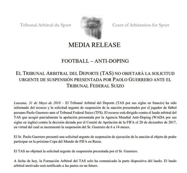 El fallo del TAS que dice que la Justicia suiza va a decidir si Paolo Guerrero juega el Mundial