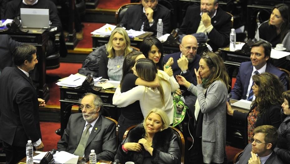 Diputados durante el debate por la ley del aborto en Congreso de Nacion.Foto Maxi Failla