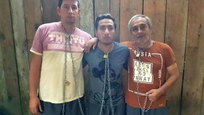 Imagen de los tres secuestrados proporcionada por exguerrilleros de las FARC