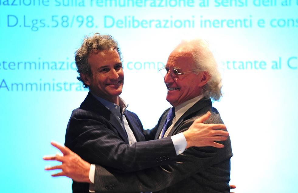 Luciano Benetton con su hijo Alessandro.