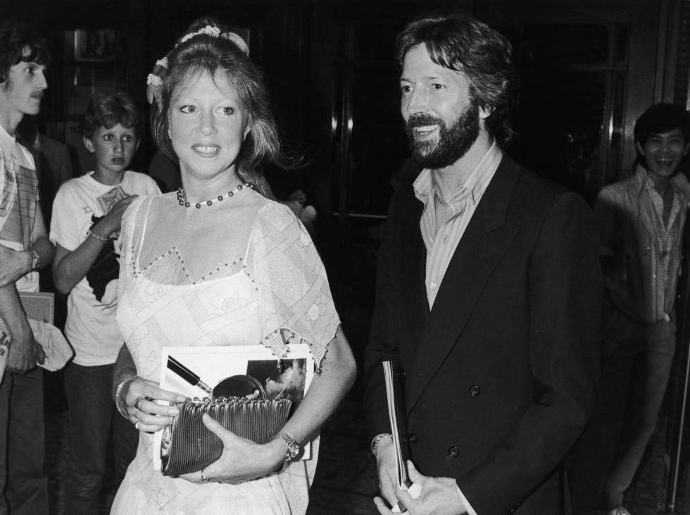 Eric Clapton y su esposa Pattie Boyd, en Londres, en 1983.