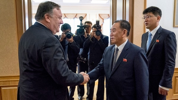 Pompeo en su última visita a Corea del Norte(AP Photo/Andrew Harnik, Pool)