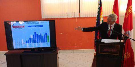 El vicepresidente García explica las inversiones gubernamentales en Potosí.