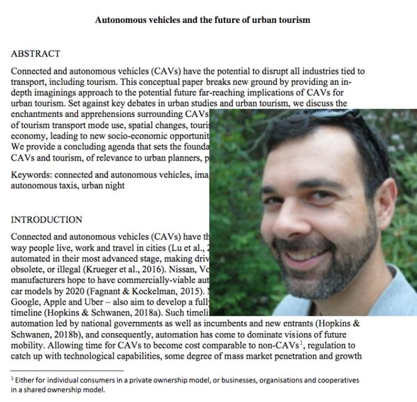 Scott Cohen es uno de los autores del estudio sobre el efecto que los vehículos autónomos tendrán en el turismo urbano