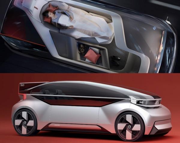 El modelo 360c de la Volvo, un auto de concepto que pone al pasajero en una verdadera cama rodante