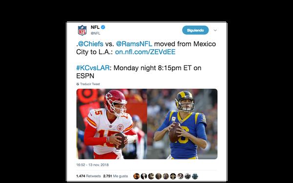 La NFL anunció la suspensión del juego a través de un comunicado (Foto: Twitter NFL)