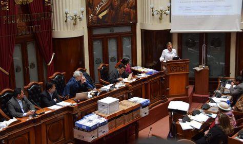 La presidente de la Comisión Especial Mixta que investigó el caso caso Odebrecht, Susana Rivero, expone en el pleno de la ALP. Foto: Cámara de Senadores