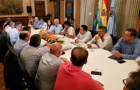 El presidente Evo Morales en reunión con empresarios. Foto:Min Planificación
