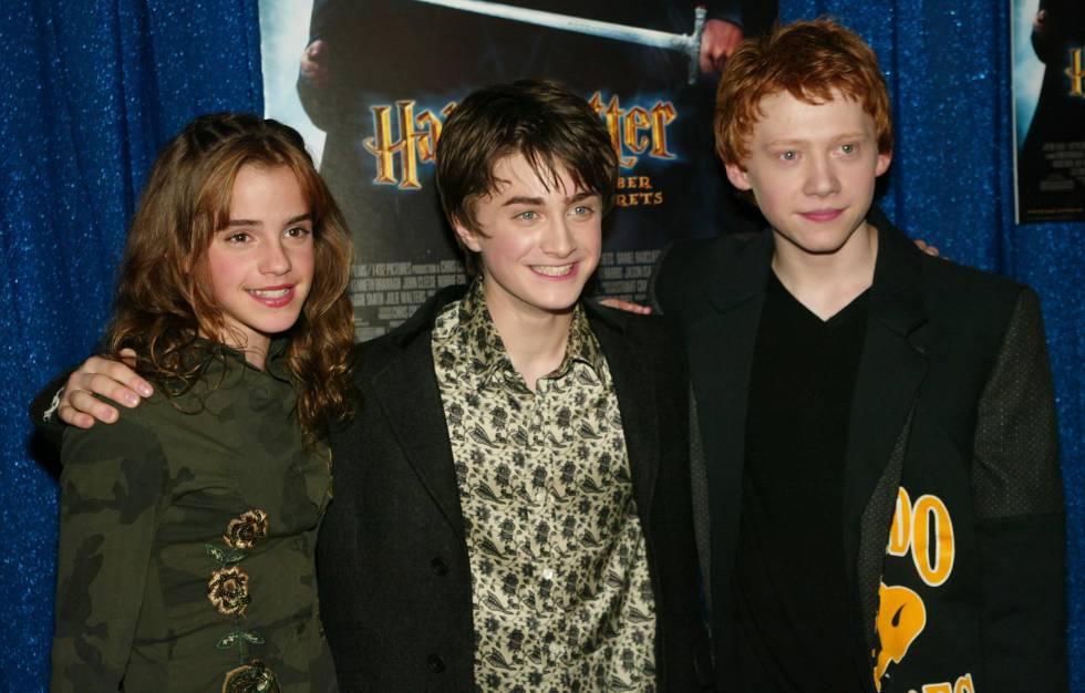 Emma Watson, Daniel Radcliffe yRupert Grint en uno de los estrenos de la saga Harry Potter en 2002 en Nueva York.