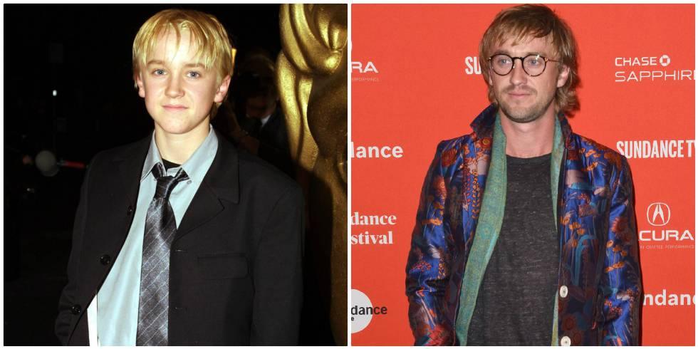 Tom Felton, el villano Draco Malfoy, de niño y en una imagen de este año.