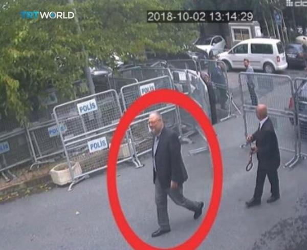 Las últimas imágenes de Khashoggi con vida, ingresando al consulado saudí en Estambul (Reuters)