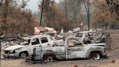 Vista de daños producidos por el incendio de Rancho cerca de Clearlake Oaks, California (EE.UU.).