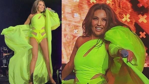 Thalía pasó un momento incómodo sobre el escenario (Foto: Instagram thalia)
