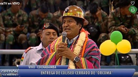 El presidente Evo Morales en un acto con cooperativas mineras