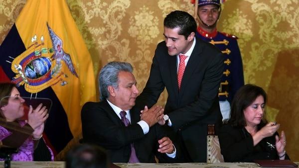 El presidente Lenin Moreno y su ministro de Economía, Richard Martínez, quien está en conversaciones preliminares con el Fondo Monetario para conseguir un salvataje