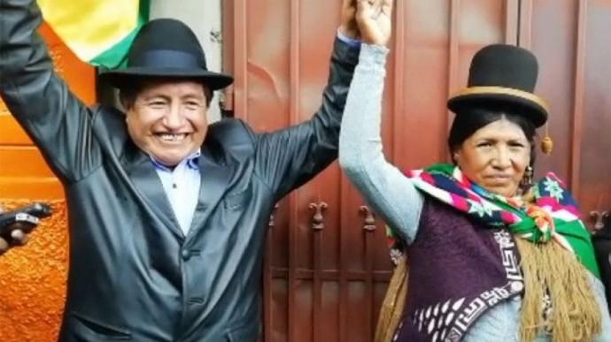 El diputado Rafael Quispe cuando inscribió su binomio por el MAS con Juana Calle. FOTO: Erbol