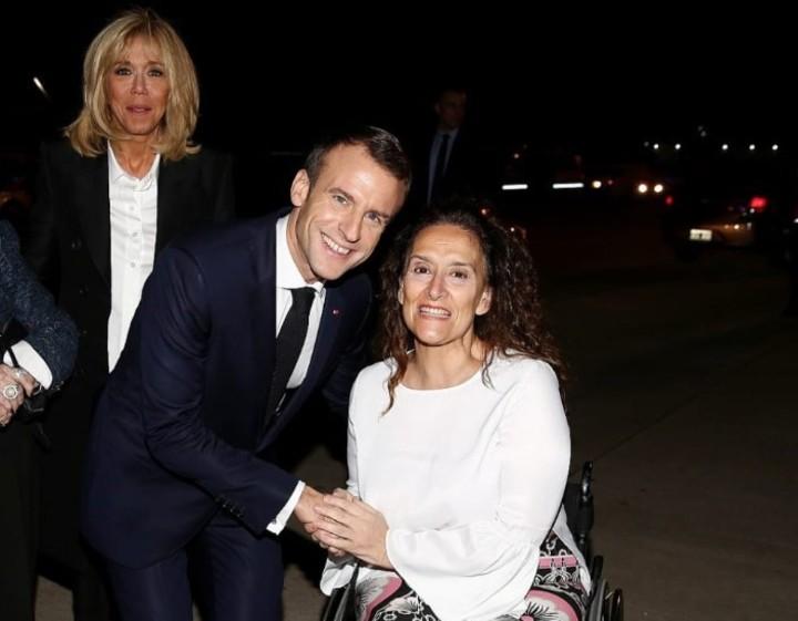 Michetti recibió a Macron. Twitter: @gabimichetti