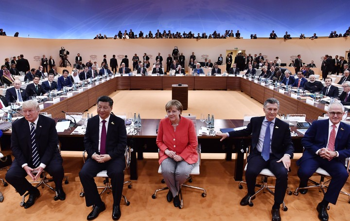 Cumbre del G20 en Hamburgo. Con Macri en primera fila (Foto: DPA)