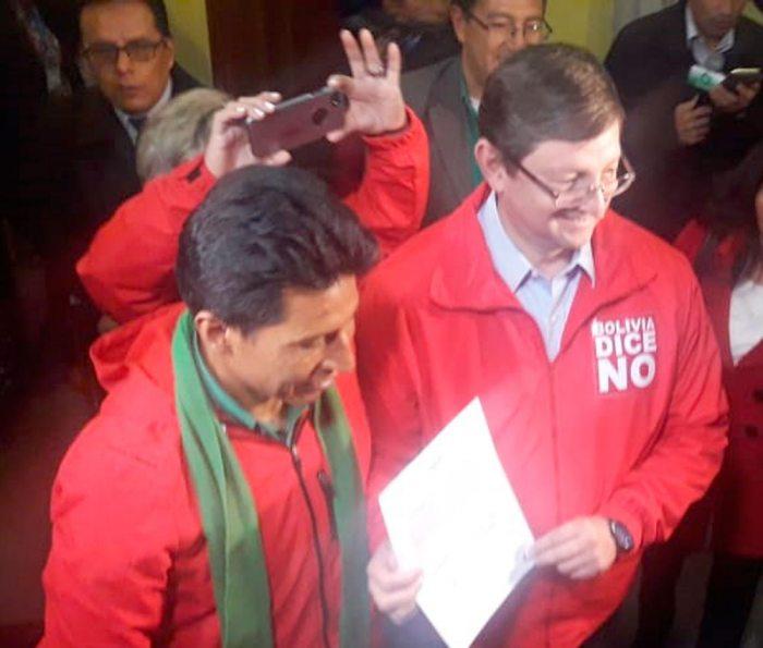OSCAR ORTIZ Y EDWIN RODRÍGUEZ POR BOLIVIA DICE NO (DEMÓCRATAS).