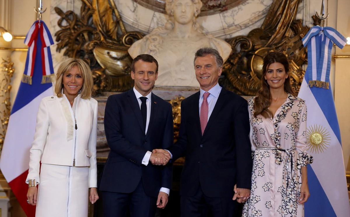 El primer encuentro del G20 -entre Juliana Awada, Mauricio Macri, Emmanuel y Brigitte Macron- fue una lección de estilo (REUTERS/Agustin Marcarian).