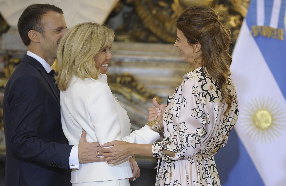 Juliana Awada y Brigitte Macro, adecuadas para el momento (AFP).