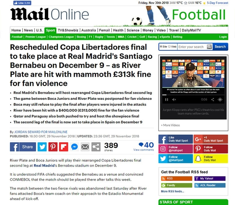La reprogramada final de la Copa Libertadores se llevará a cabo en el Santiago Bernabéu del Real Madrid el 9 de diciembre, mientras River Plate recibe una multa de 313.000 libras por la violencia de los aficionados (Daily Mail, Inglaterra)
