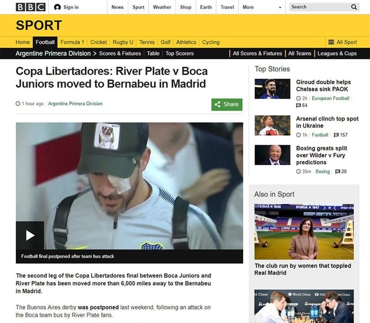 Copa Libertadores: River vs. Boca se muda al Bernabéu en Madrid (BBC, Inglaterra)