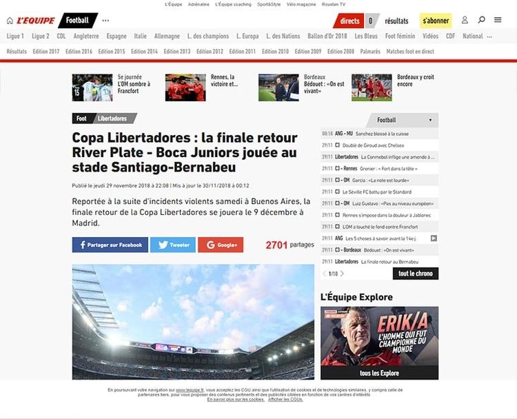 Copa Libertadores: el partido de vuelta River Plate – Boca Juniors se juega en el estadio Santiago Bernabéu (L'Equipe, Francia)