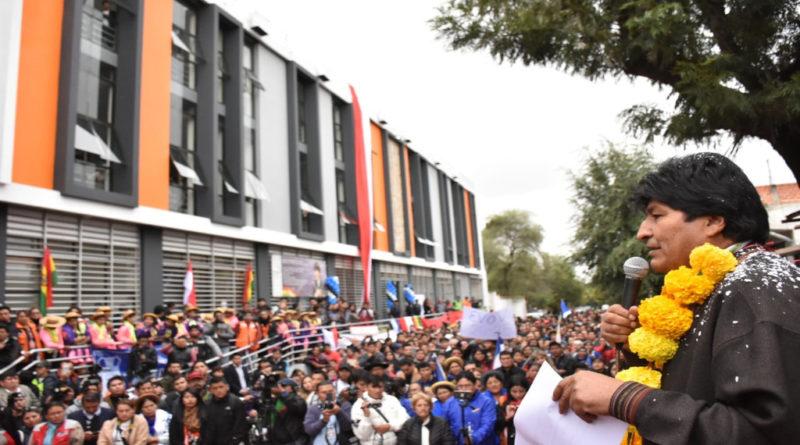 Evo Morales Ayma, presidente del Estado Plurinacional durante el acto de entrega del mercado Bolívar.