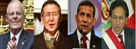 (De izq. a der.) Los presidentes peruanos Kuczynski, Fujimori, Humala y Toledo. Fotos: Archivo