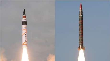 Lanzamiento de un misil indio Agni V (izq.) y de un misil pakistaní Shaheen 1A.