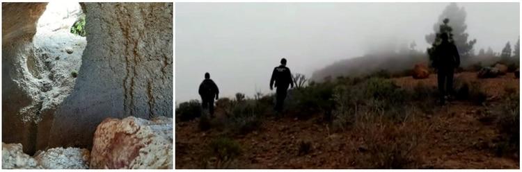 A la izquierda la cueva donde el padre mató a Silvia y a Jakob, a la derecha la zona boscosa donde caminaron para llegar y donde Jonas pudo correr y escapar La Foto: Impresión de pantalla