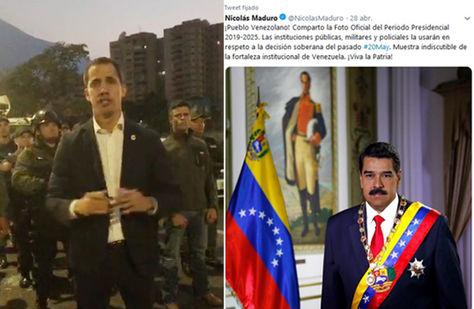 Guaidó en el video que publicó en Twitter y al lado mel mensaje que Maduro publicó este martes en la misma red social